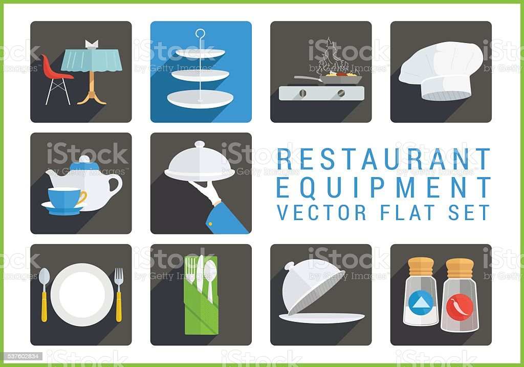 Restaurant utensil flat vector icons vector art illustration