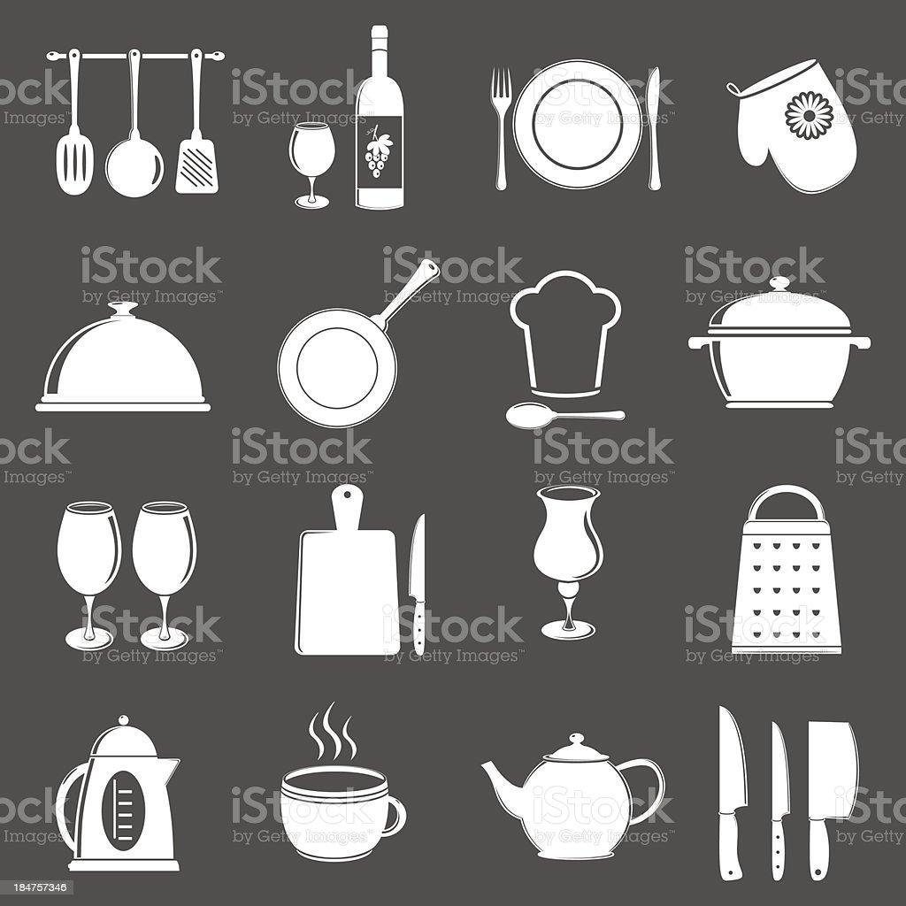 Restaurant utensil icons royalty-free stock vector art