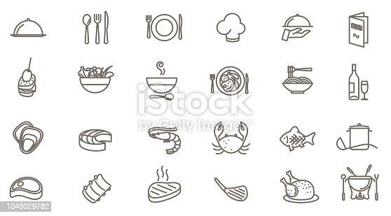 Thin line restaurant vector icon set