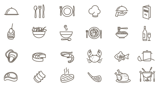 restaurant vector icon set clipart