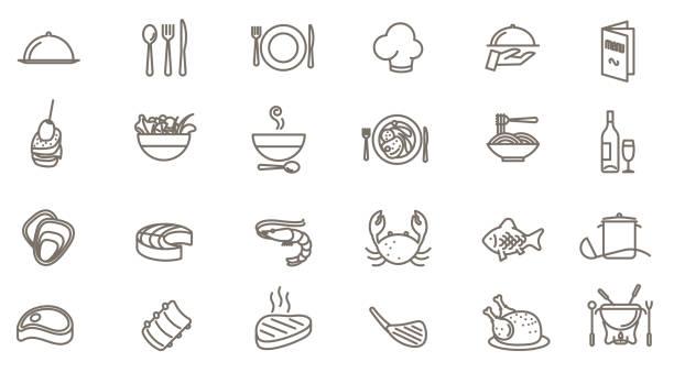 restaurant vector icon set Thin line restaurant vector icon set cooking icons stock illustrations