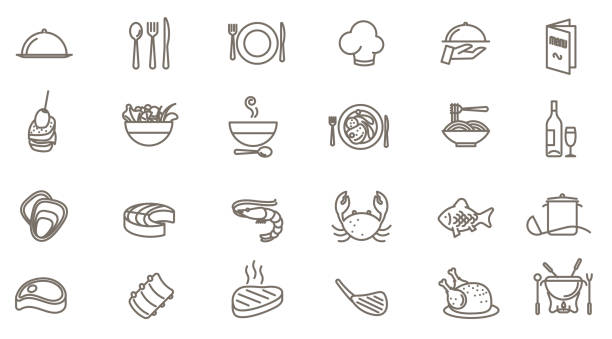 stockillustraties, clipart, cartoons en iconen met restaurant vector icon set - bord serviesgoed