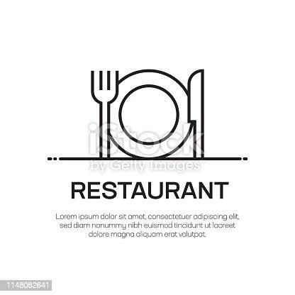 istock Restaurant Vector Line Icon - Simple Thin Line Icon, Premium Quality Design Element 1148082641