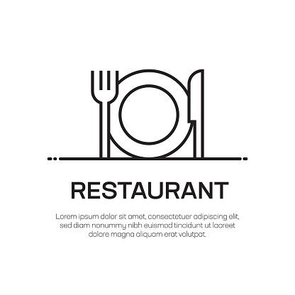 Restaurant Vector Line Icon - Simple Thin Line Icon, Premium Quality Design Element