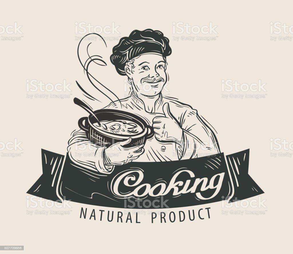 Restaurant vector logo design template. Cooking food or cook, chef vector art illustration
