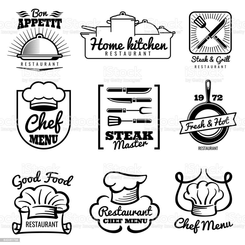 Restaurant Vector Vintage Symbol Chef Retro Labels Cooking