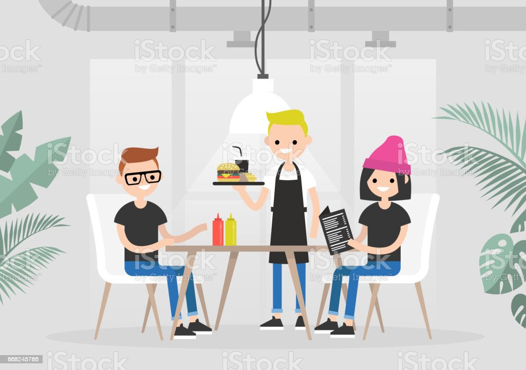 Restaurant visitors. Lunch time. Eating together. Two young characters being served by a waiter in a restaurant / flat editable vector illustration, clip art vector art illustration
