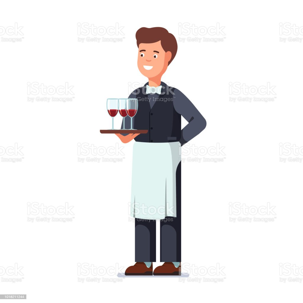 restaurant waiter holding in hand three wineglasses filled with red