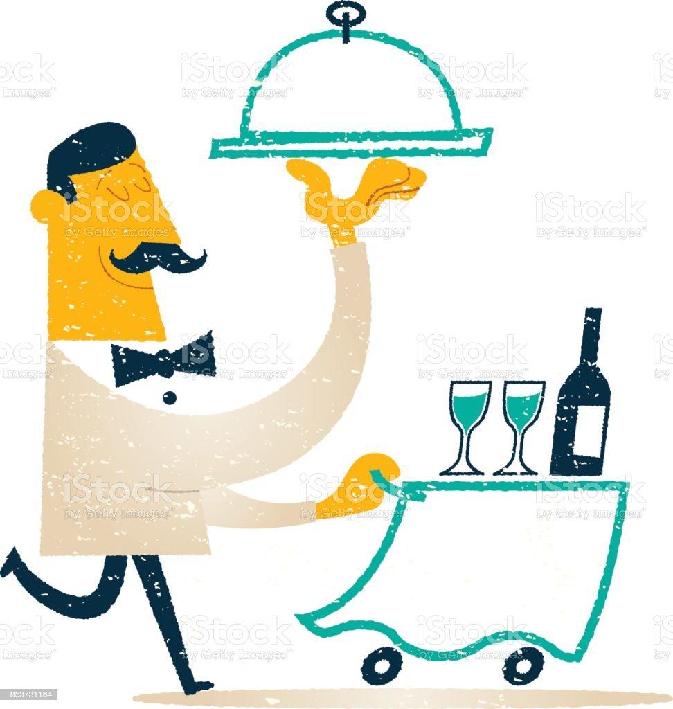 restaurant waiter vector art illustration