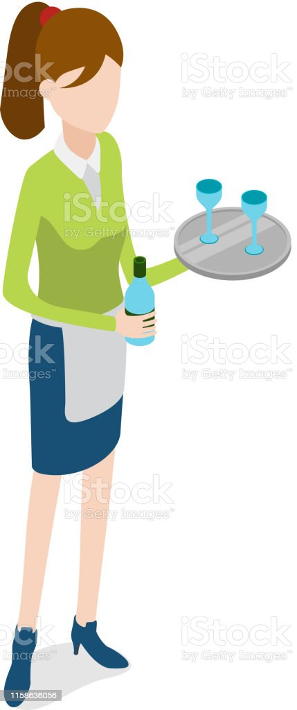 Restaurant. Waitress with Metal Tray and Bottle - arte vettoriale royalty-free di Adulto