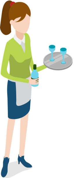 illustrazioni stock, clip art, cartoni animati e icone di tendenza di restaurant. waitress with metal tray and bottle - portrait of waiter and waitress holding a serving