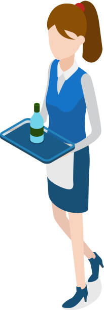 illustrazioni stock, clip art, cartoni animati e icone di tendenza di restaurant. walking waitress with tray in hands - portrait of waiter and waitress holding a serving