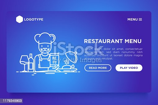 Restaurant web page template, chef with menu. Thin line icons: chef dish, beverage, wine. Modern vector illustration with copy space.