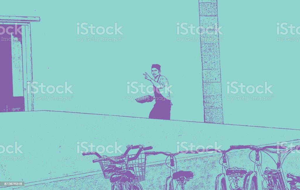 Restaurant worker at a Mexican tourist resort vector art illustration
