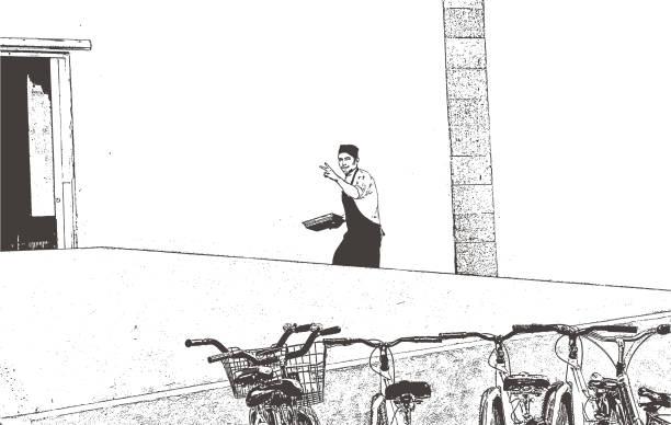 Restaurant worker at a Mexican tourist resort Mezzotint silhouette of friendly restaurant worker at an environmentally friendly Mexican tourist resort minimum wage stock illustrations
