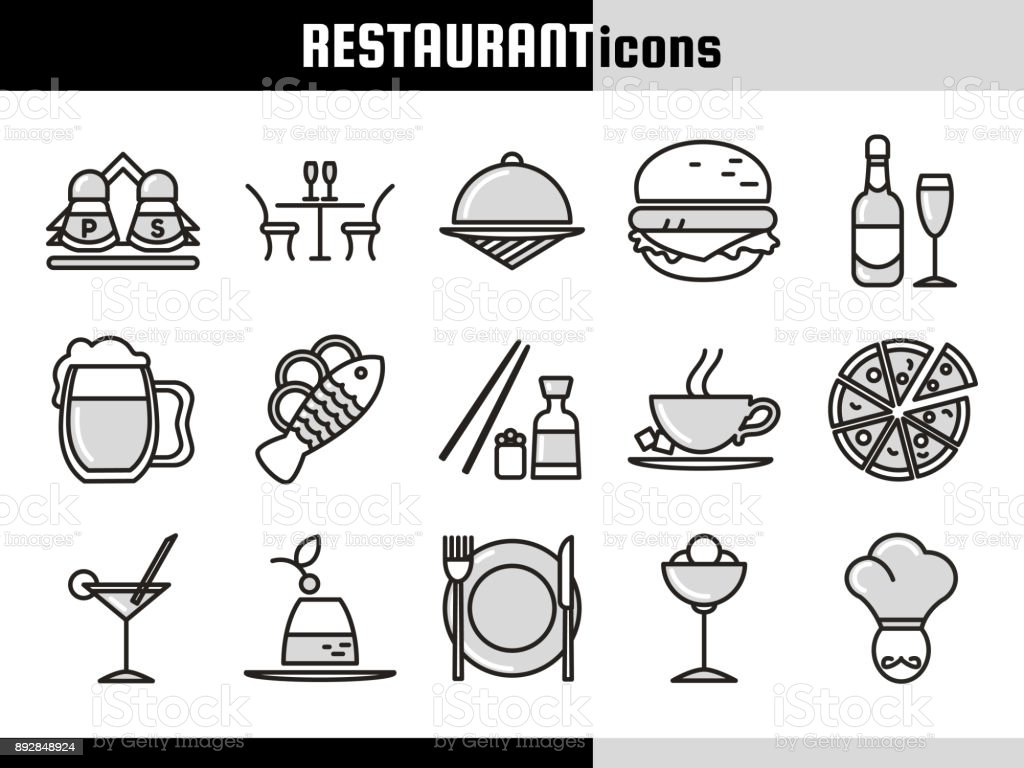 Restaurant_Linear_Icons_Collection vector art illustration