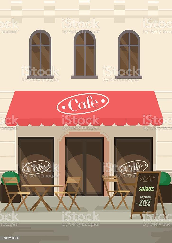 Restaurants facade. Vector flat illustration vector art illustration