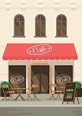 Restaurants facade. Vector flat illustration