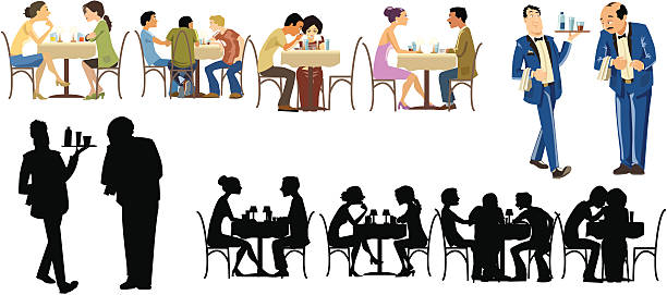 Restaurants Goers Collection vector art illustration