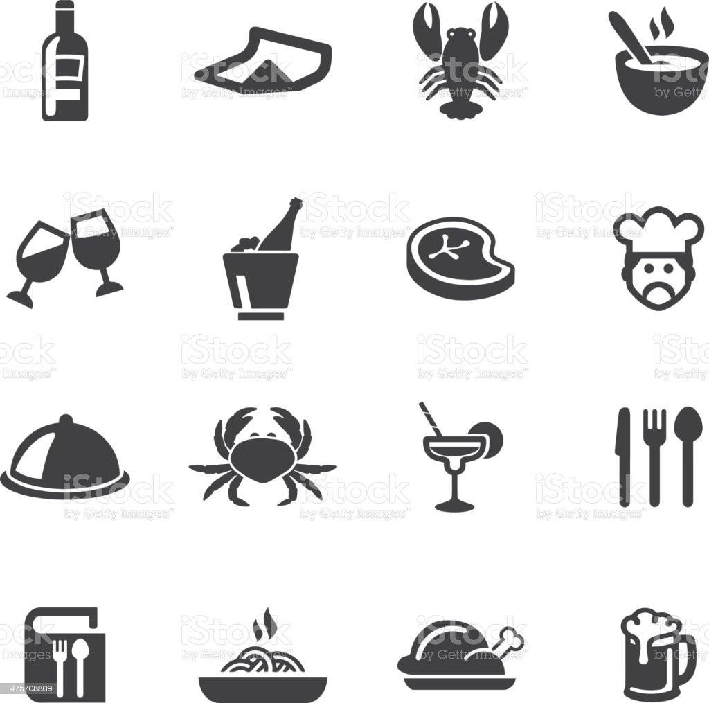 Restaurants Silhouette Icons vector art illustration
