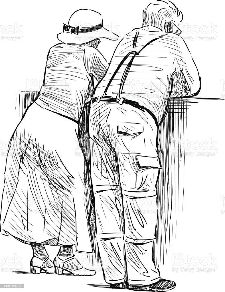 resting couple vector art illustration