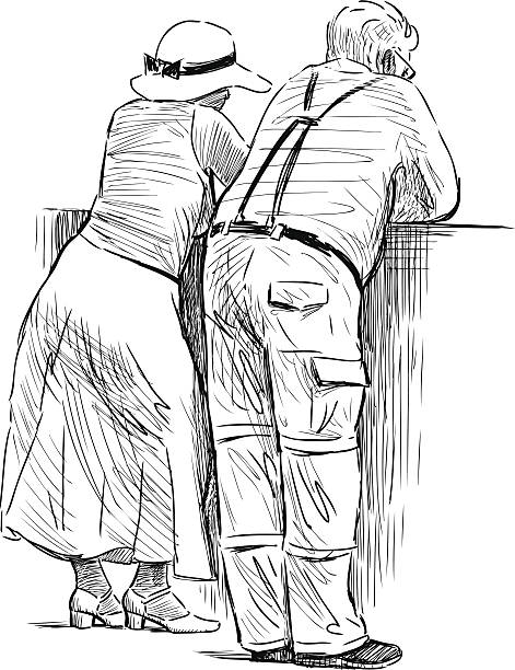 resting couple - old man standing drawings stock illustrations, clip art, cartoons, & icons