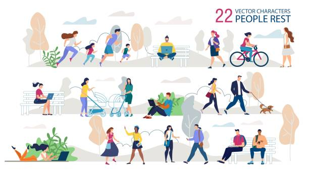 Resting Outdoors People Characters Flat Vector Set Resting Outdoors People Characters Trendy Vector Set. Parents with Children Jogging Together, Students, Freelancers Sitting on Bench, Couple Walking with Dog, Ladies Meeting in Park Illustration active lifestyle stock illustrations
