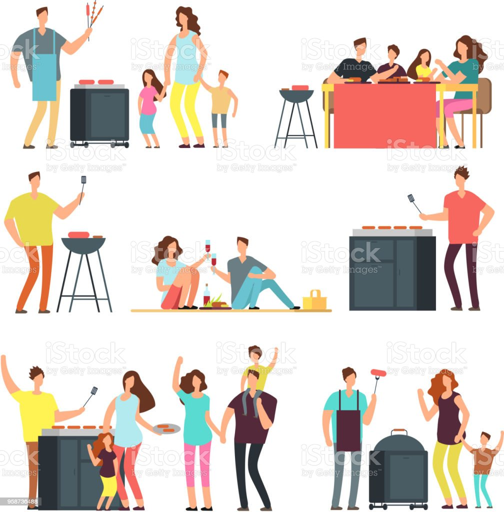Resting people on bbq picnic. Active family and kids playing outdoor. Cartoon vector characters isolated vector art illustration