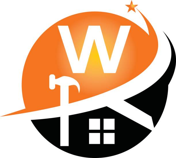 illustrations, cliparts, dessins animés et icônes de restaurations et constructions initial w - logo peintre en batiment