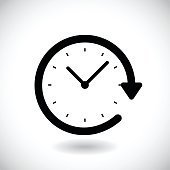 Restore clock icon isolated on a white background