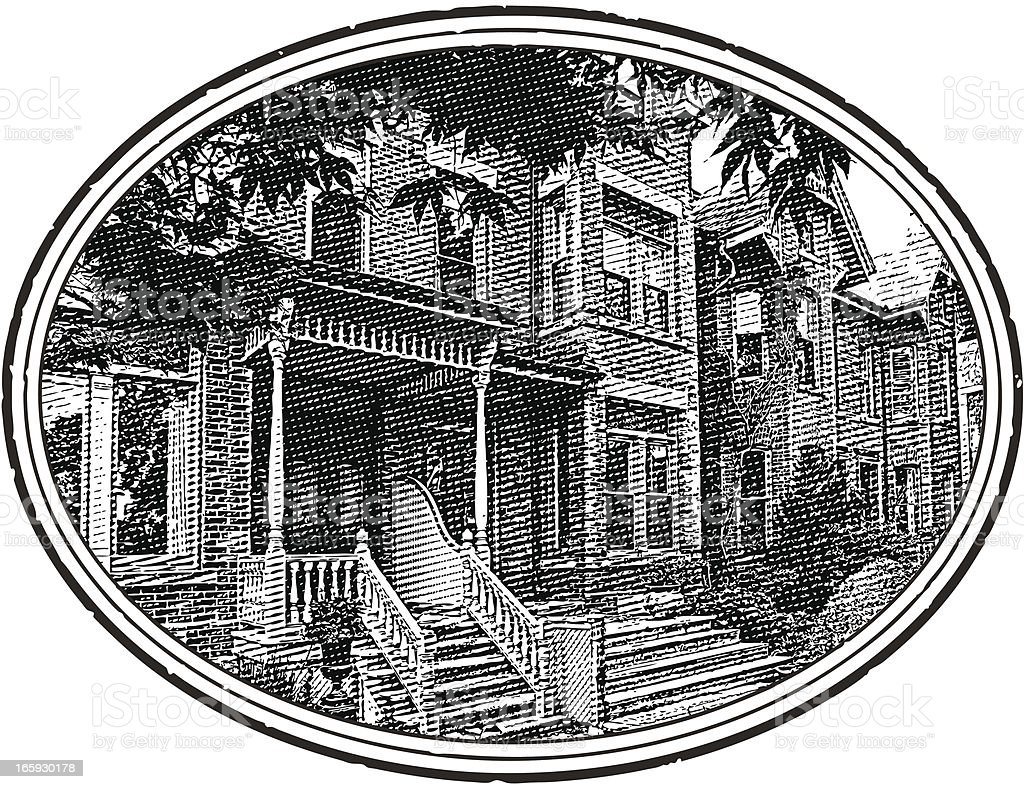 Restored Victorian Home with Oval Frame royalty-free stock vector art