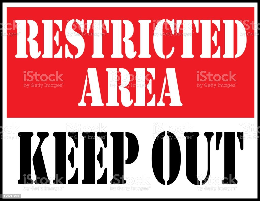 Restricted Area Sign vector art illustration