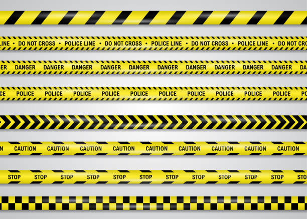 Restricting, danger, caution yellow band vector illustration set, isolated on white. Police or construction cordon plastic ribbon to forbid trespassing for life safety, to procure normal functioning. Restricting, danger, caution yellow band vector illustration set, isolated on white. Police or construction cordon plastic ribbon to forbid trespassing for life safety, to procure normal functioning. exclusion stock illustrations