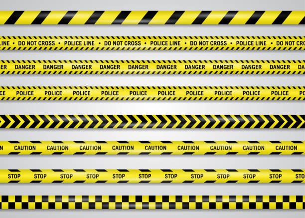 einschränkung, gefahr, vorsicht gelbe band vektor-illustration set, isoliert auf weiß. polizei oder bau cordon kunststoffband, um überschreitung für die sicherheit des lebens zu verbieten, um normale funktion zu beschaffen. - ausstoßen stock-grafiken, -clipart, -cartoons und -symbole