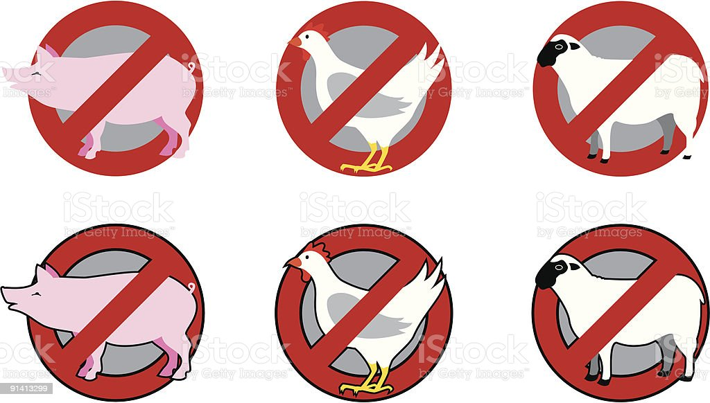 Restriction signs on pig, poultry and lamb meat vector art illustration