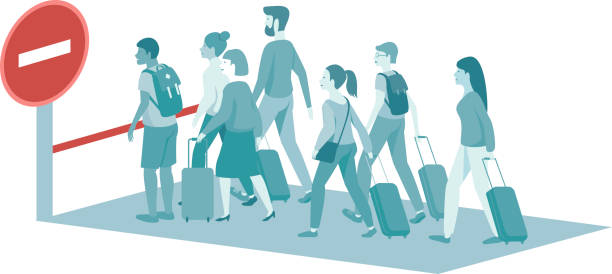 Restrictions on entry and exit.  Covid-19 pandemic concept Restrictions on entry and exit. Crowd of depressed passengers standing against STOP sign.covid-19 pandemic concept. flat vector illustration airport borders stock illustrations