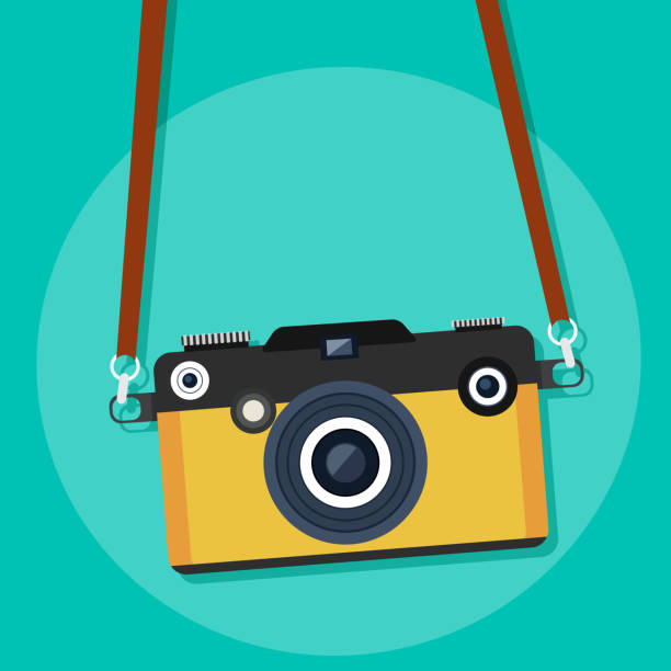 stockillustraties, clipart, cartoons en iconen met restro camera. vectorillustratie. - camera