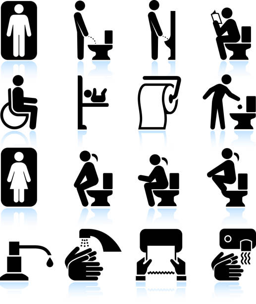 Restroom bathroom Amenities and Signs black & white icon set Restroom bathroom Amenities and Signs black & white set flushing water stock illustrations