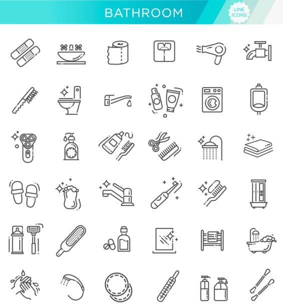 toilette, badezimmer-icon-set. line style lager vektor - zähne putzen stock-grafiken, -clipart, -cartoons und -symbole
