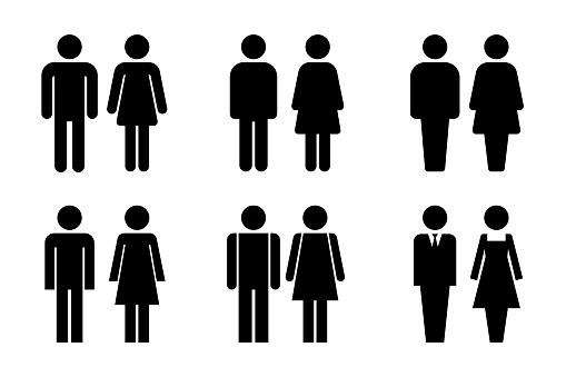 Restroom door pictograms. Woman and man public toilet vector signs, female and male hygiene washrooms symbols, black ladies and gentlemen wc restroom ui