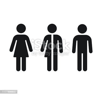 Restroom gender icons: man, woman and unisex. Bathroom door symbols. Isolated vector signs.