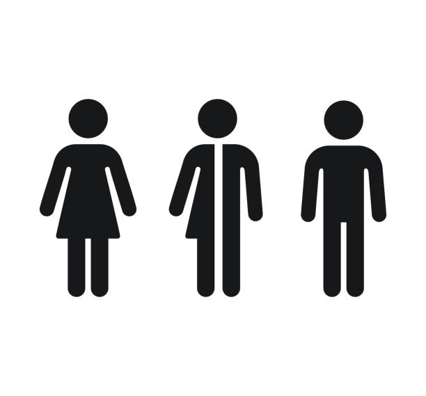 Restroom gender symbols Restroom gender icons: man, woman and unisex. Bathroom door symbols. Isolated vector signs. person icon stock illustrations