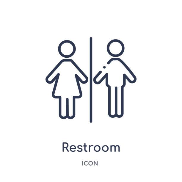 illustrations, cliparts, dessins animés et icônes de icône de toilettes de la collection de contour du musée. icône de toilettes de ligne mince d'isolement sur le fond blanc. - museum