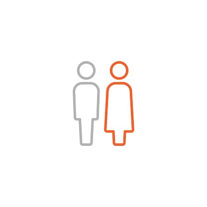 Restroom Icon with Editable Stroke