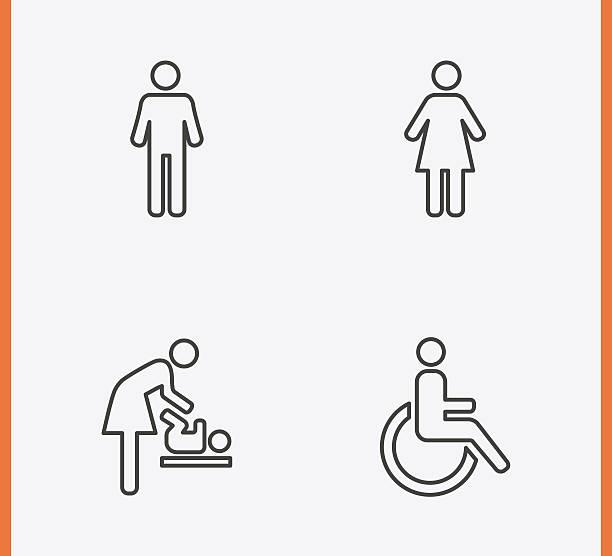 toilette symbole dünne linie - badezimmer stock-grafiken, -clipart, -cartoons und -symbole