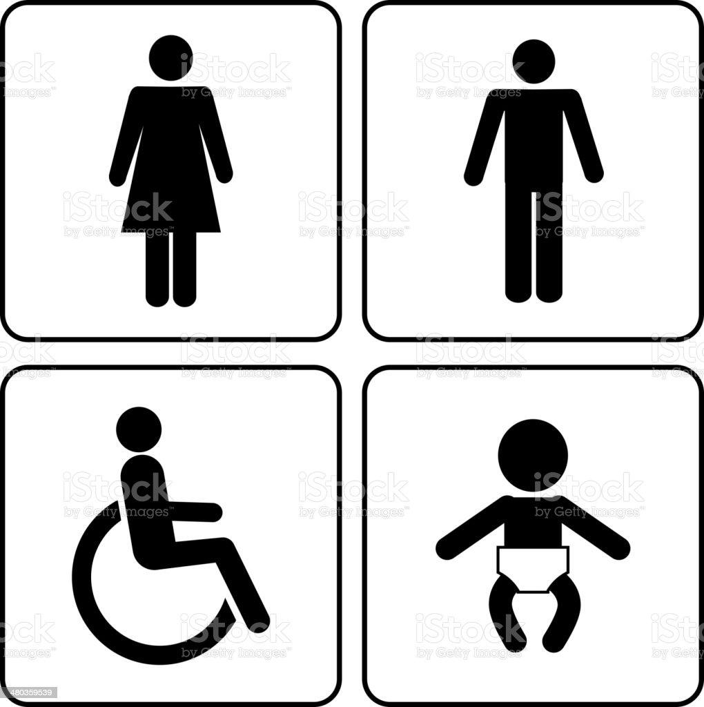 restroom icons vector art illustration