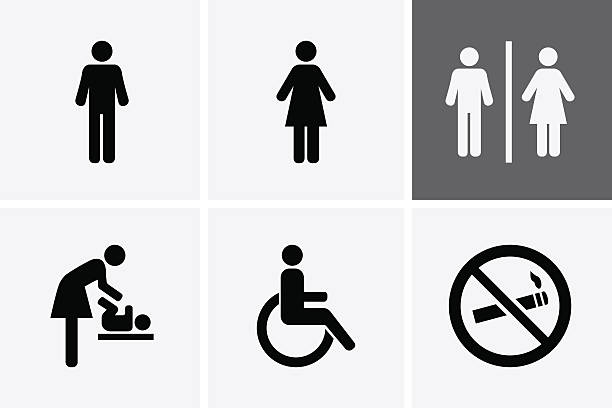 restroom icons - signs and symbols stock illustrations