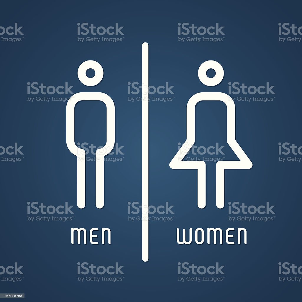 Restroom male and female sign vector art illustration