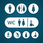 Restroom male female pregnant cripple oldster and baby sign