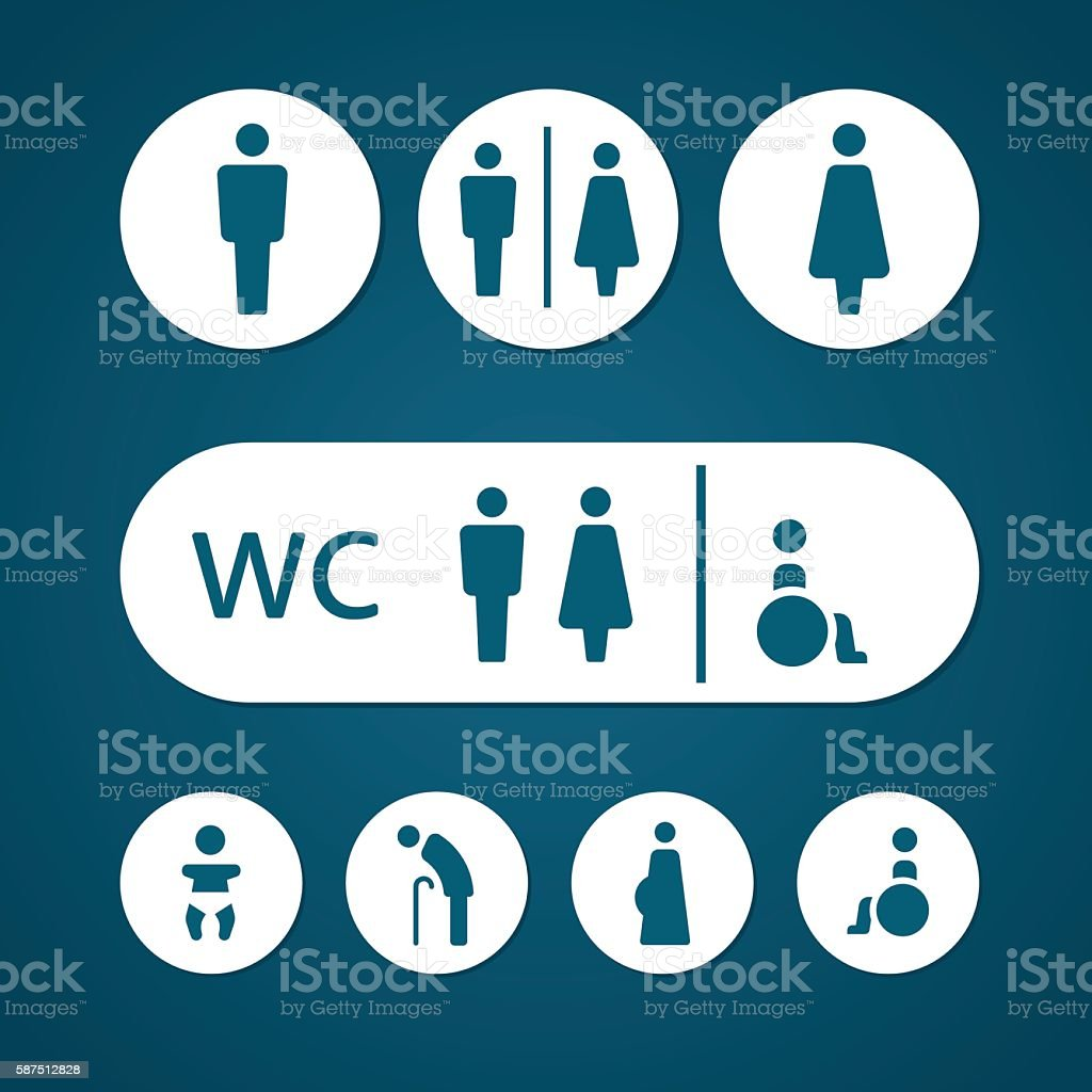 Restroom male female pregnant cripple oldster and baby sign vector art illustration